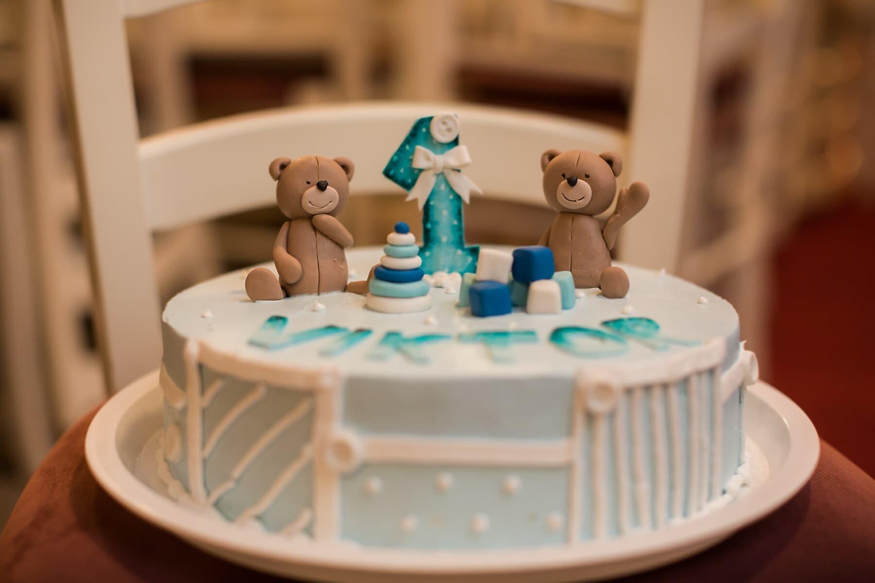anniversaire, ours en peluche, gâteau d'anniversaire, pâtisserie, gâteau, à l'intérieur, cuisson au four, chocolat, miniature, Design d'intérieur