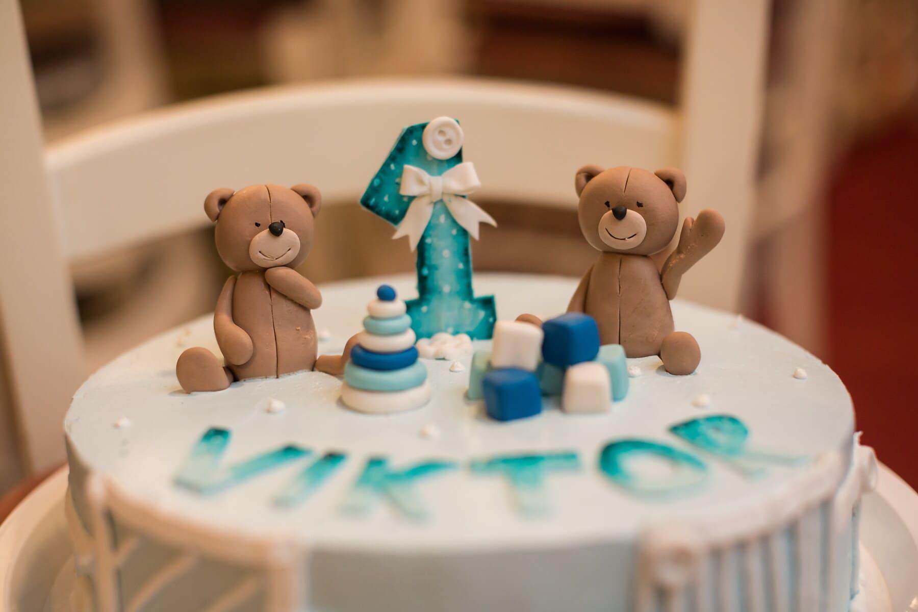 decoratie, lichtbruin, verjaardagstaart, verjaardag, teddybeer speelgoed, taart, binnenshuis, bakken, speelgoed, plezier