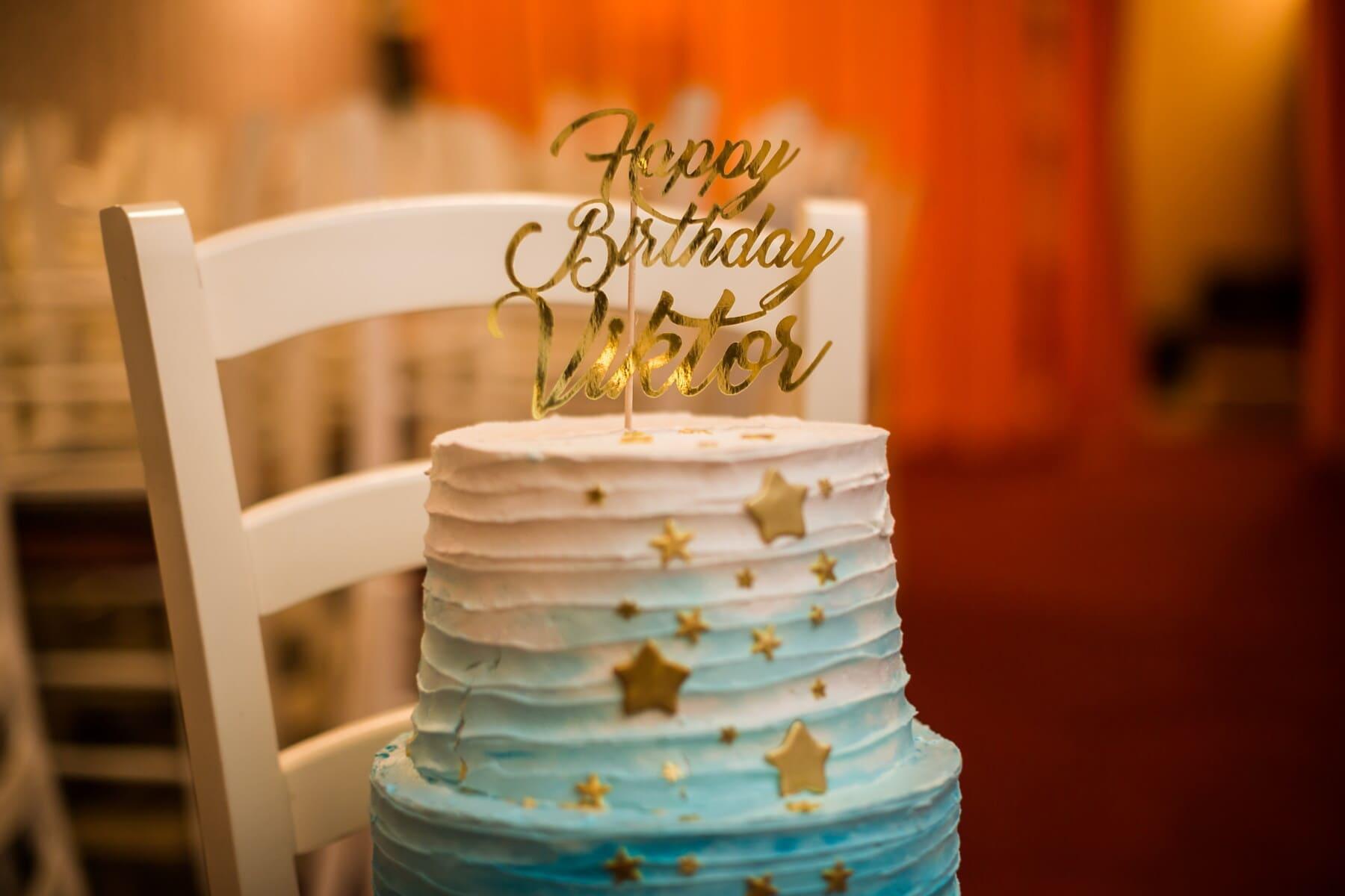 heureux, anniversaire, gâteau d'anniversaire, lueur dorée, décoration, crème, élégant, chocolat, cuisson au four, délicieux