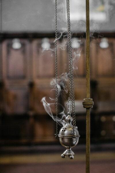 宗教, 对象, 链, 挂, 十字架, 老, 黄铜, 年份, 古董, 木材