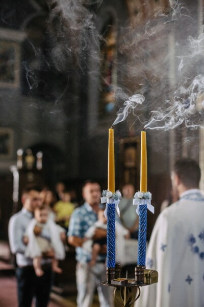 smoke, candles, baptism, church, priest, light, people, city, man, ceremony