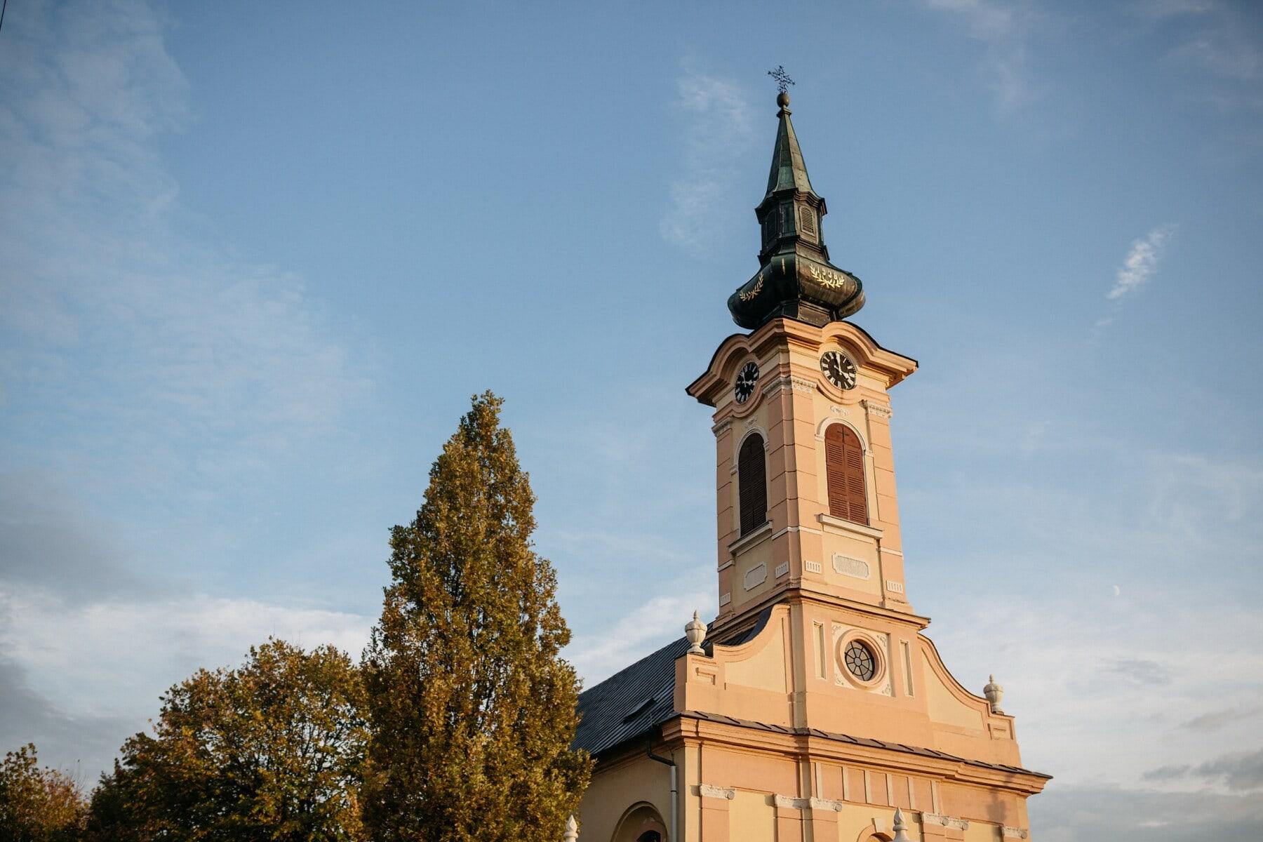 教会, 基督教, 立, 高耸, 塔, 阳光, 宗教, 覆盖, 体系结构, 老