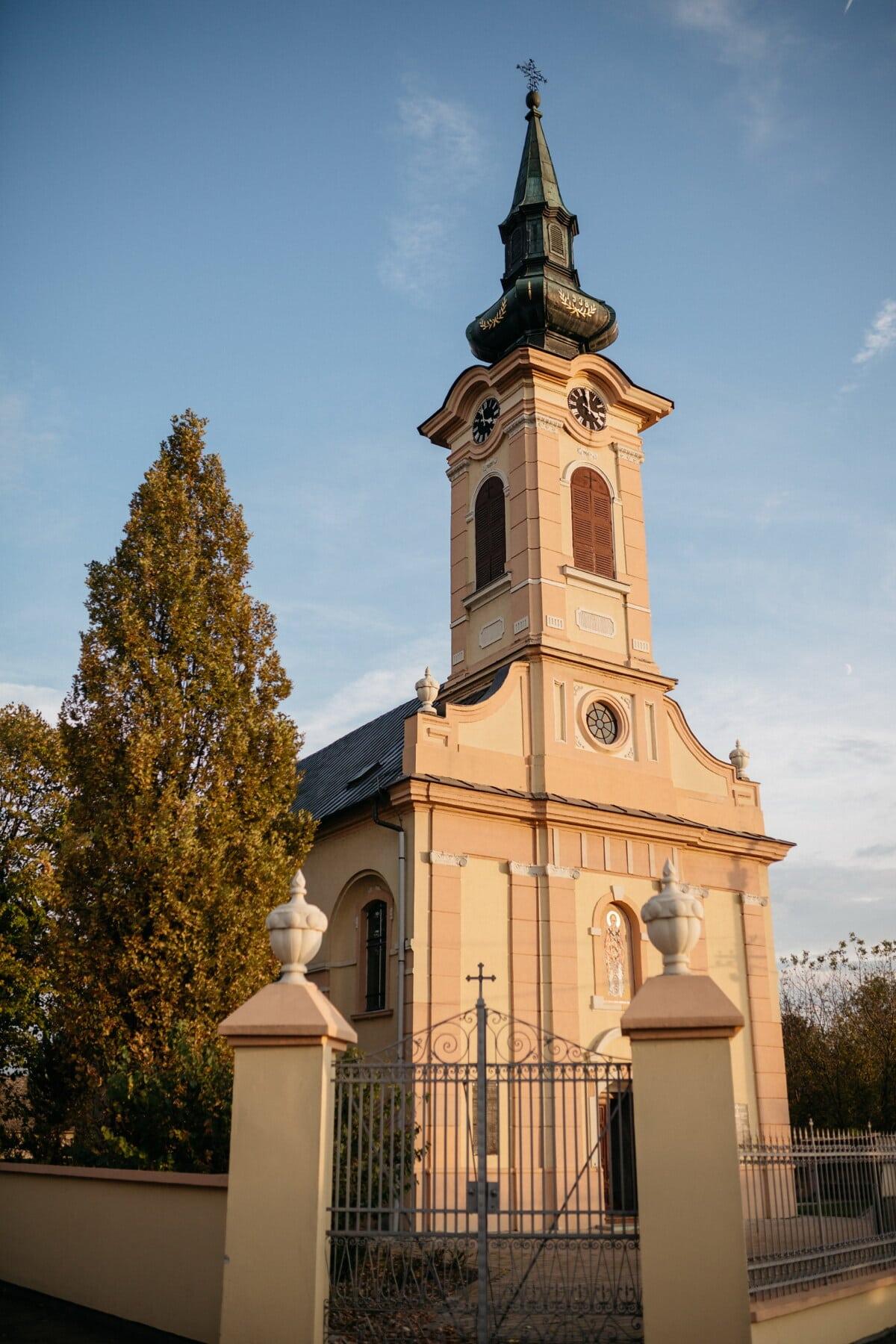 башня церков, церковь, вход, ворота, передняя дверь, улица, архитектура, религия, старый, крест