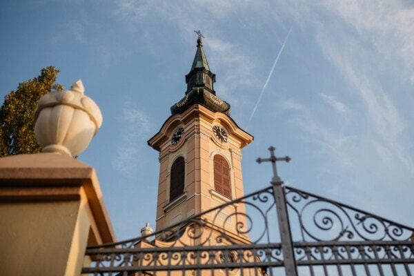 church tower, high, fence, gateway, cast iron, square, angle, corner, tower, old