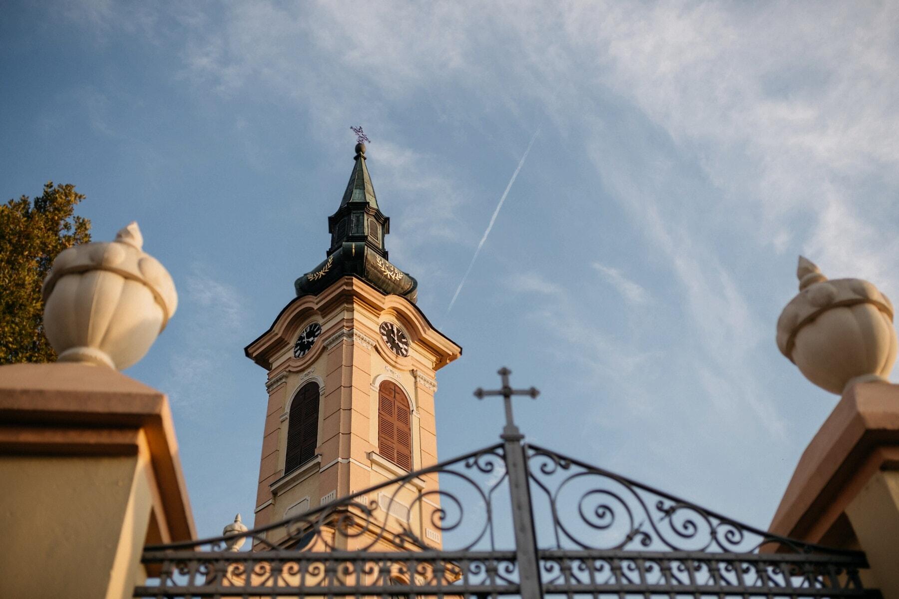 kyrktornet, ortodoxa, staket, ytterdörren, gjutjärn, vinkel, hörnet, arkitektur, domkyrkan, kyrkan