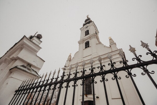 church, church tower, white, snow, snowflakes, winter, cold, cast iron, fence, tower