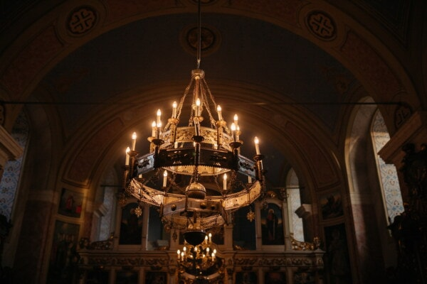 chandelier, church, spirituality, darkness, illumination, spirit, altar, christianity, worship, saint