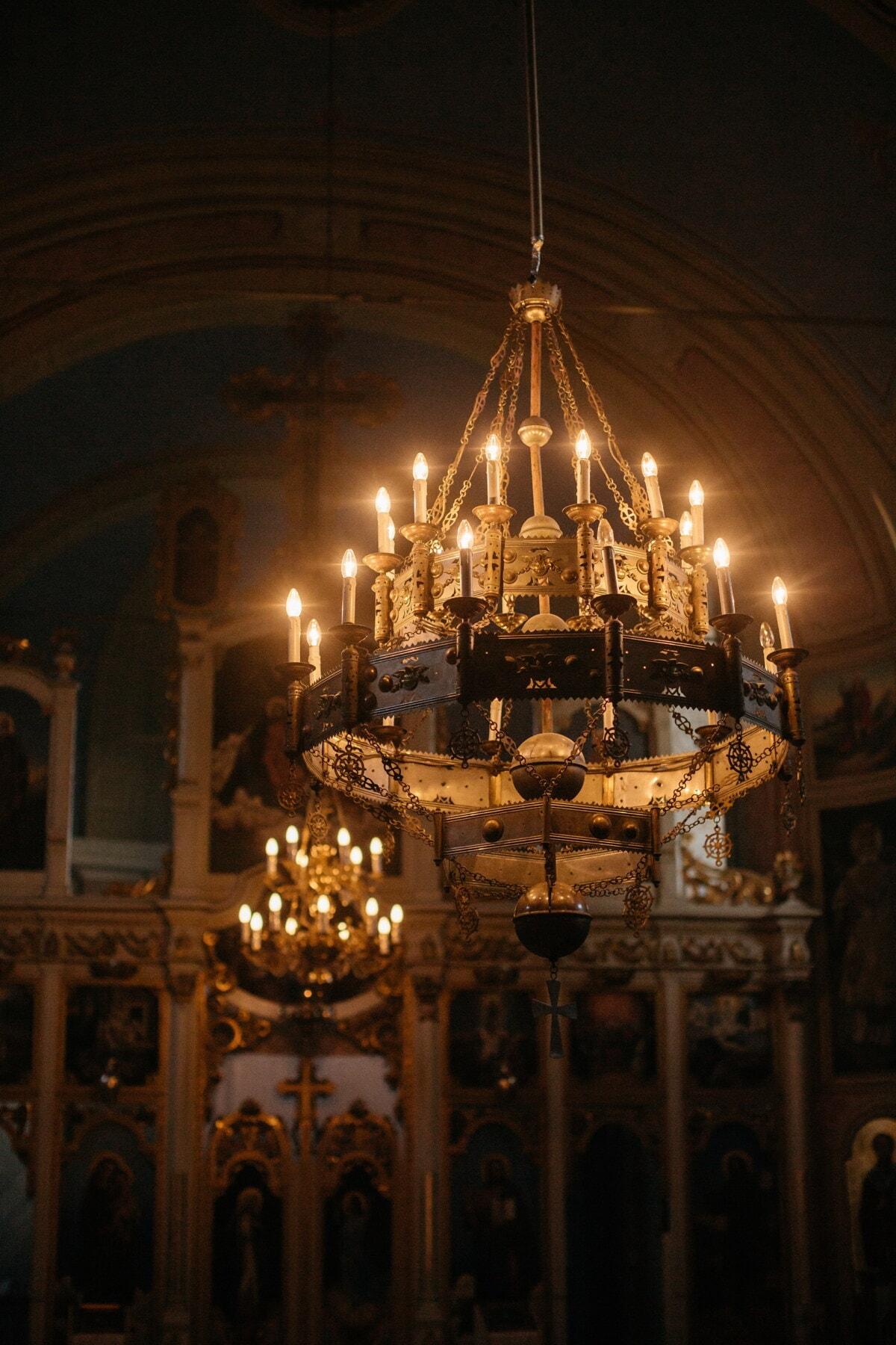 внутри, Люстры, церковь, фары, свет лампы, алтарь, кафедральный собор, структура, религия, архитектура