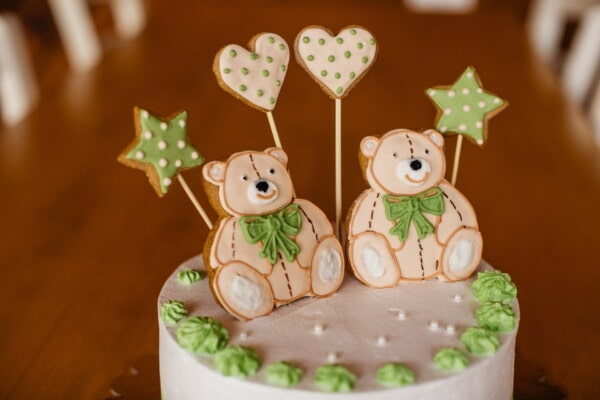 birthday cake, birthday, teddy bear toy, cake, hearts, stars, decoration, sugar, homemade, wood