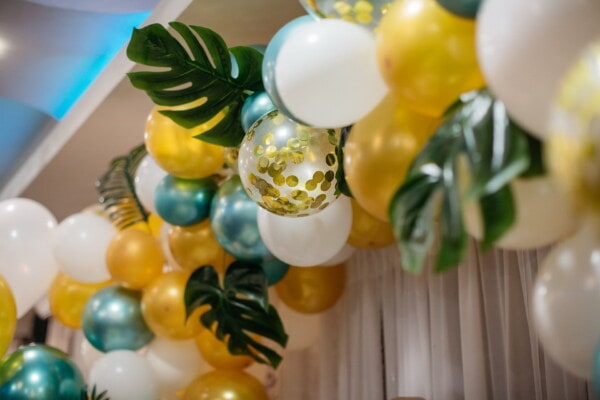 balloon, birthday, decoration, golden glow, interior design, traditional, shining, bright, indoors, hanging
