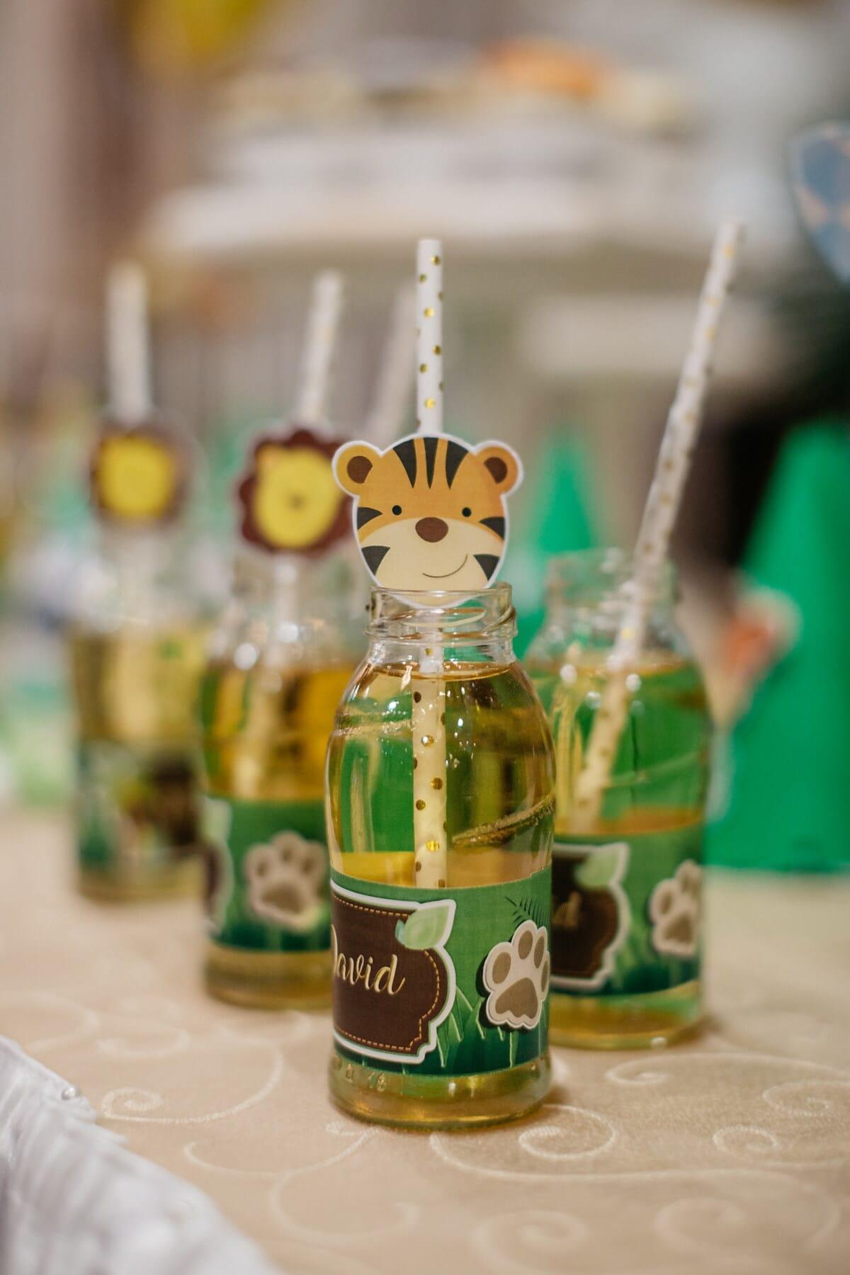 limonade, jus de fruits, anniversaire, pot, décoration, verre, traditionnel, à l'intérieur, à l'extérieur, fait main