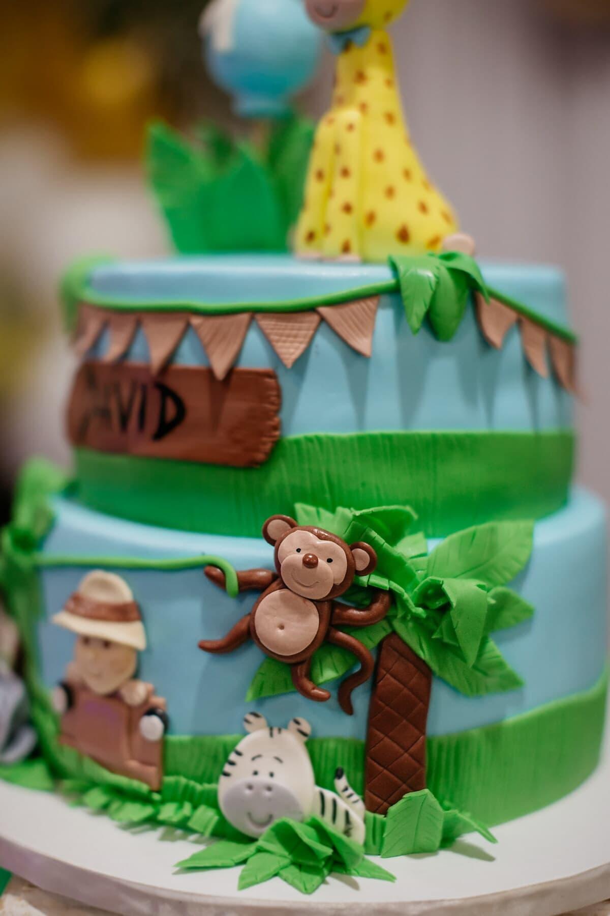 birthday, birthday cake, decoration, monkey, jungle, cake shop, fun, cute, celebration, funny