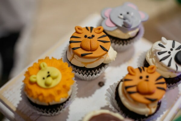 birthday, cupcake, decoration, party, animals, tiger, funny, creativity, dessert, dish