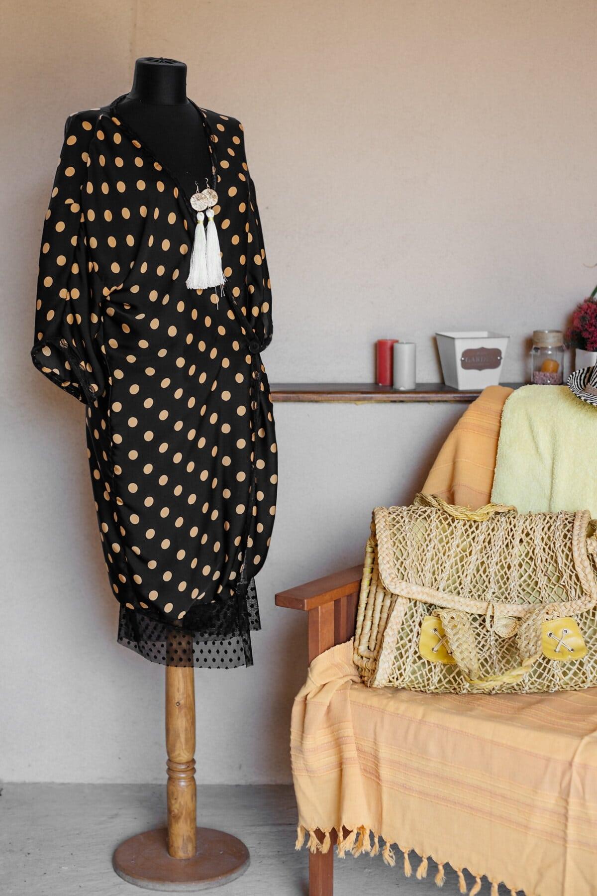Kleid, Mode, Modell, Schwarz, Handtasche, handgefertigte, Regal, Zimmer, Sessel, Kleidung