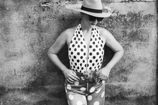 swimsuit, black and white, vintage, sunglasses, summer season, lady, hat, glamour, old fashioned, standing