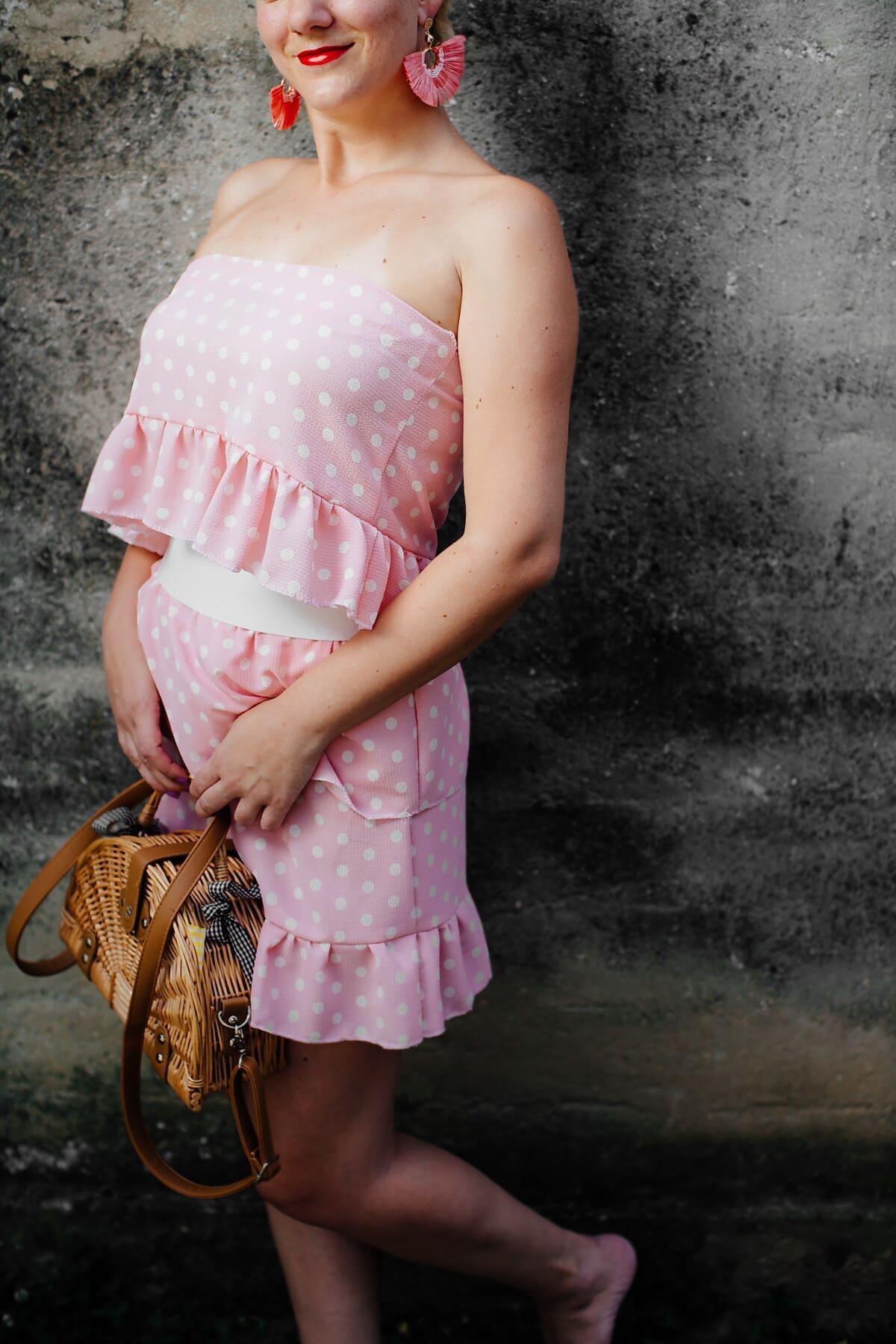démodé, Pink lady, vintage, mise en plis, Rose, robe, jupe, vêtement, mode, femme