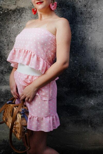 Rosa, liebenswert, Kleid, Fotomodell, Handtasche, hübsches mädchen, stehende, Jahrgang, junge Frau, Mädchen