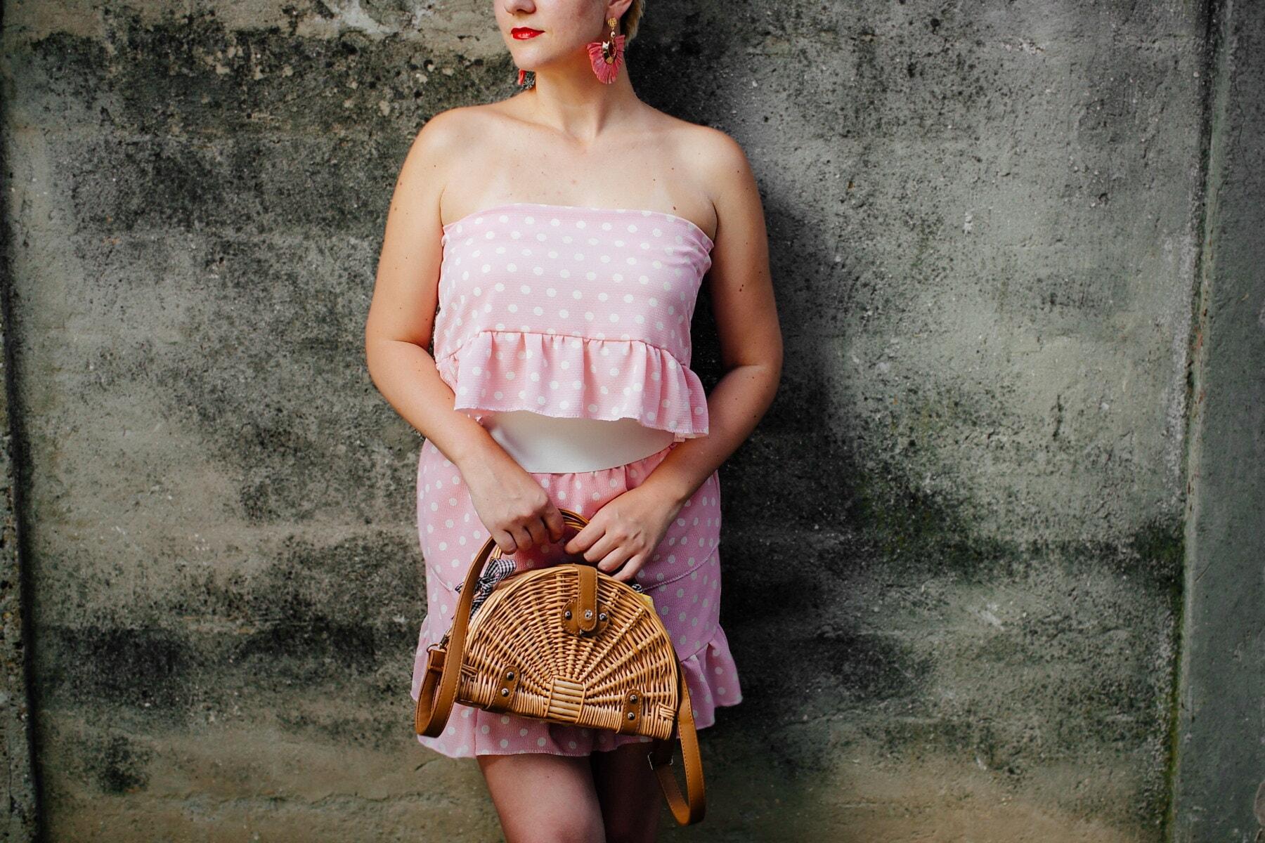 nederdel, Pink lady, årgang, gammel stil, kjole, håndtaske, smukke, Smuk pige, glamour, kvinde
