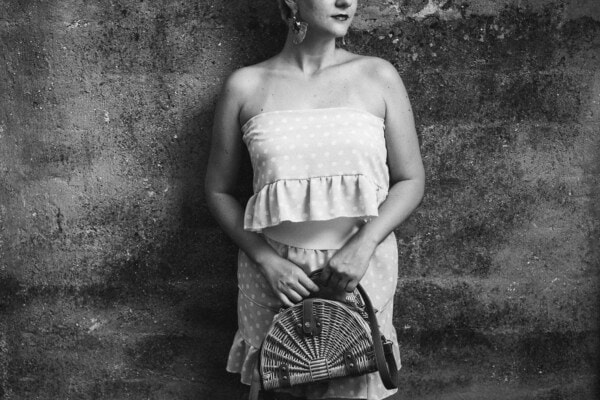 black and white, dress, skirt, vintage, old fashioned, handbag, old style, posing, pretty girl, wheelchair