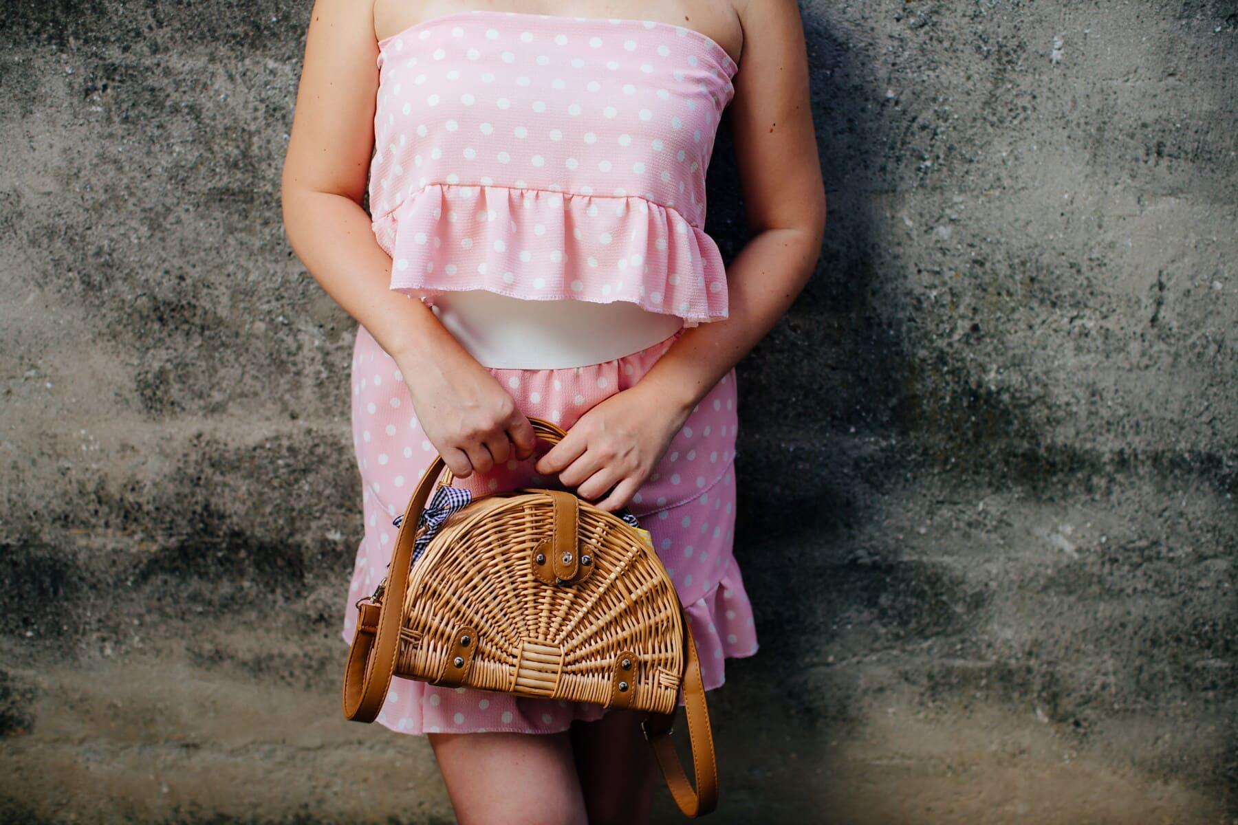 ung kvinna, Pink lady, klänning, Kjol, rosa, glamour, handväska, vintage, stil, kvinna