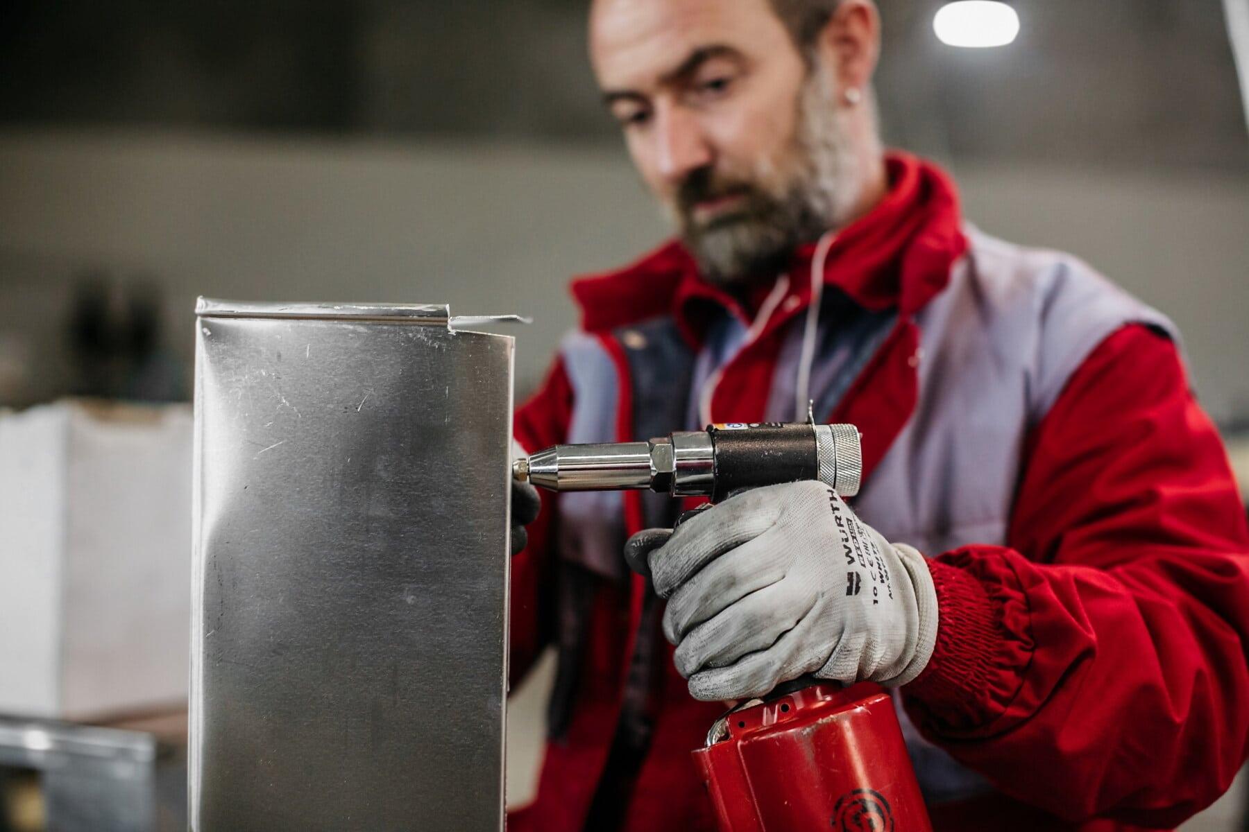operaio, fatto a mano, artigiano, officina, settore, ingegneria, in acciaio inox, strumento mano, acciaio inox, persona