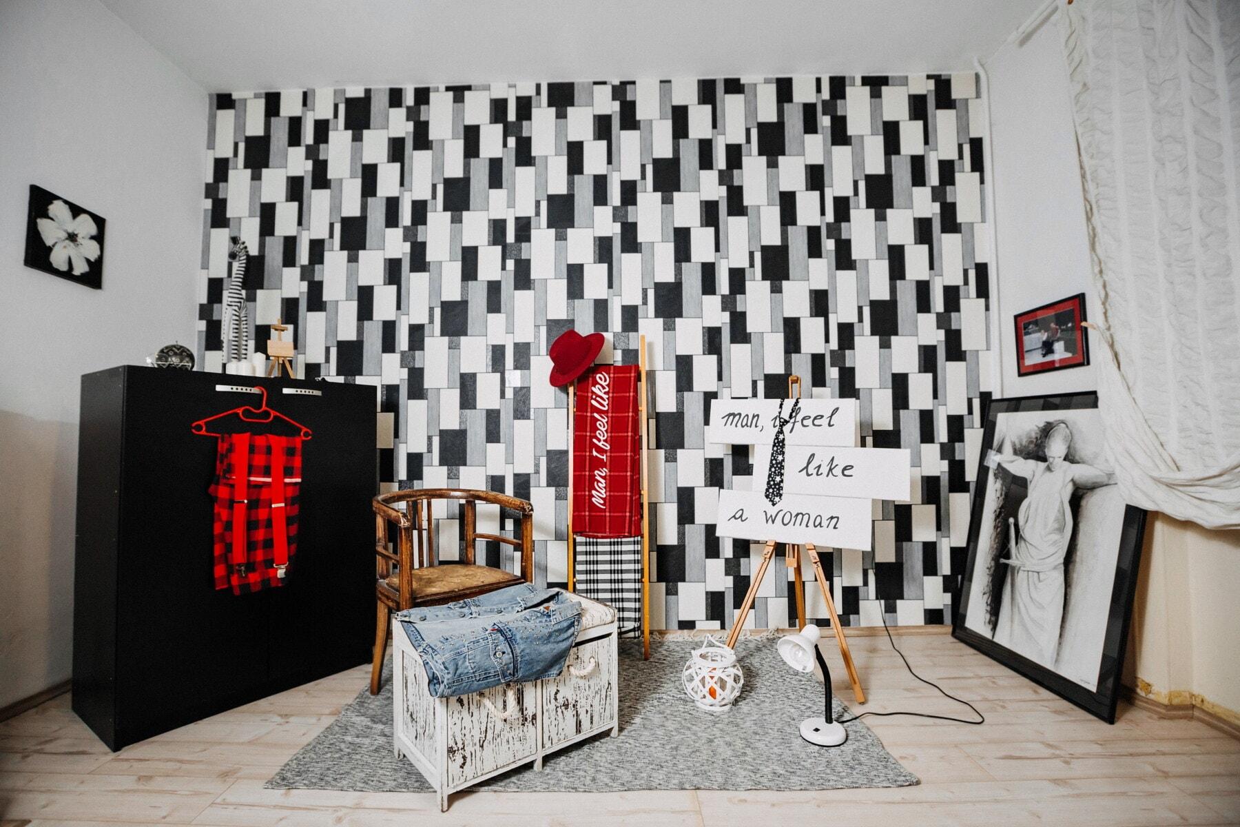 室内设计, 看中, 文本, 女性, 消息, 夹克, hat, 风格, 衣服, 时尚