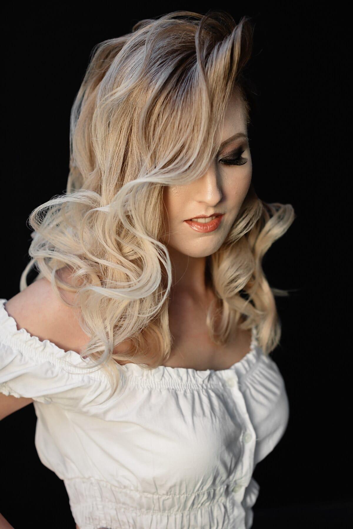 portrait, visage, blonde, magnifique, fermer, cheveux, postiche, joli, blonde, mode