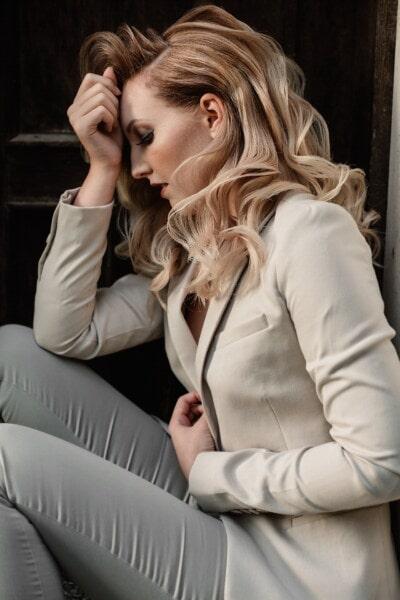 depresie, emoţie, tanara, fată drăguţă, şedinţa, Stresul, moda, femeie, frumos, elegant