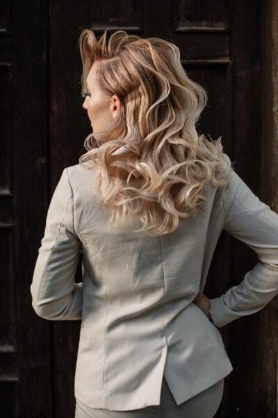 giacca, donna d'affari, capelli biondi, bionda, acconciatura, donna, modello, attraente, verticale, moda