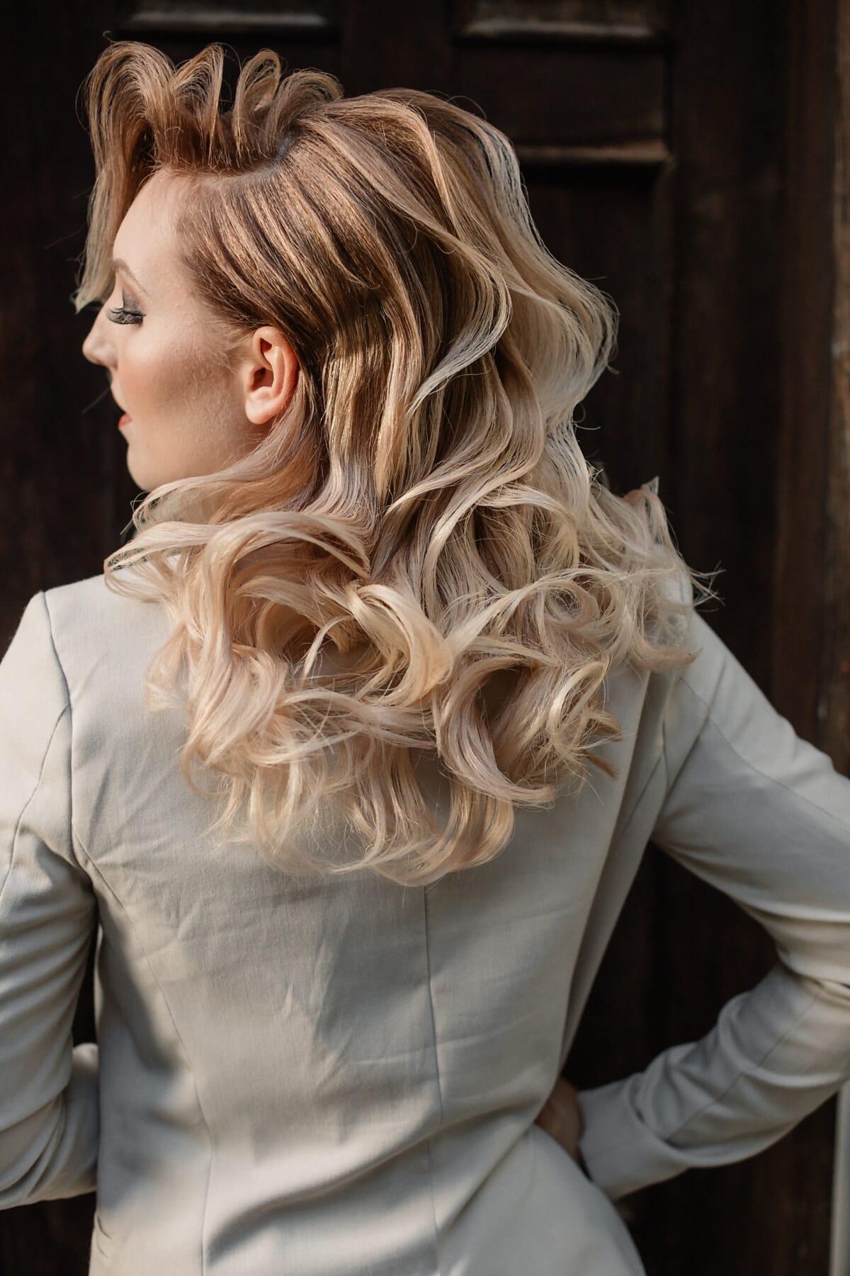 mode, charme, veste, homme d'affaires, femme d'affaires, Outfit, cheveux blonds, coiffure, cheveux, portrait