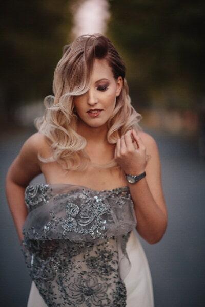 Tonåring, underbar, snygg tjej, blont hår, smal, organ, modell, glamour, porträtt, hår