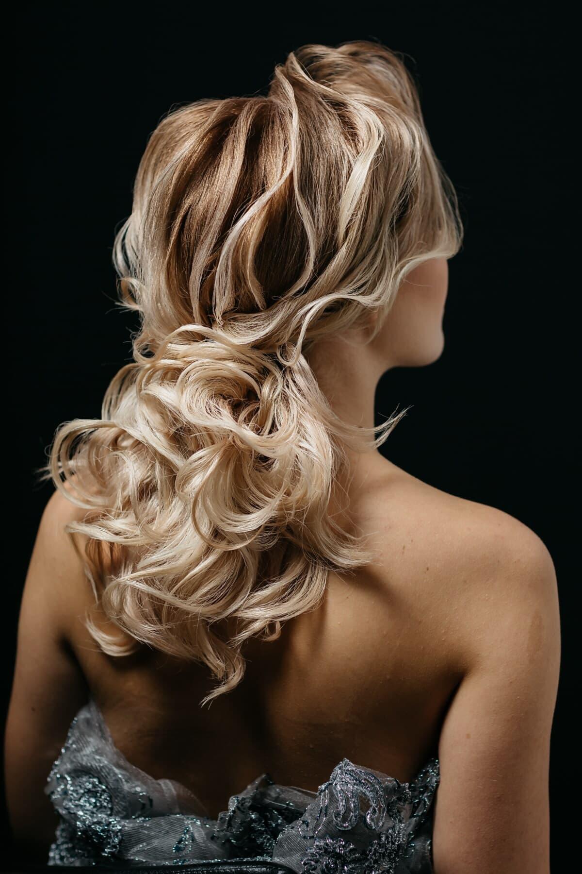 blonde, cheveux blonds, spectaculaire, coiffure, mode, charme, tenue, cheveux, portrait, postiche