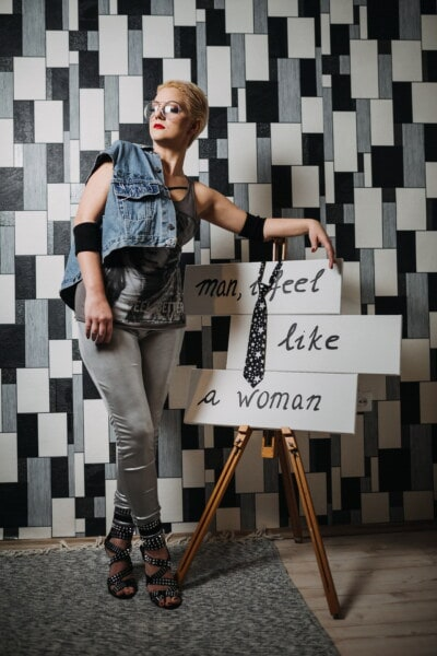 příležitostné, oblečení, móda, návrh, Návrhář, studio, ženský, zpráva, atraktivní, žena