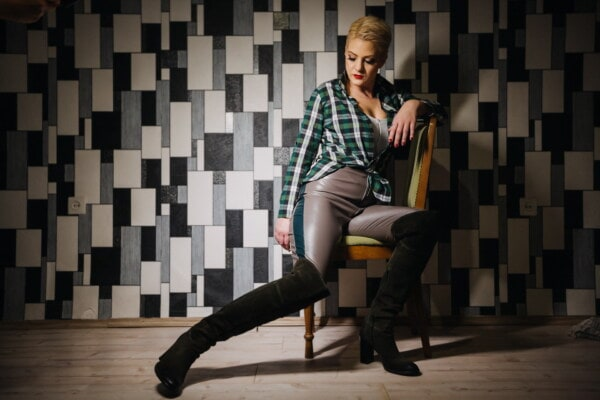 outfit, fashion, trendy, style, boots, woman, pants, young woman, posing, sitting