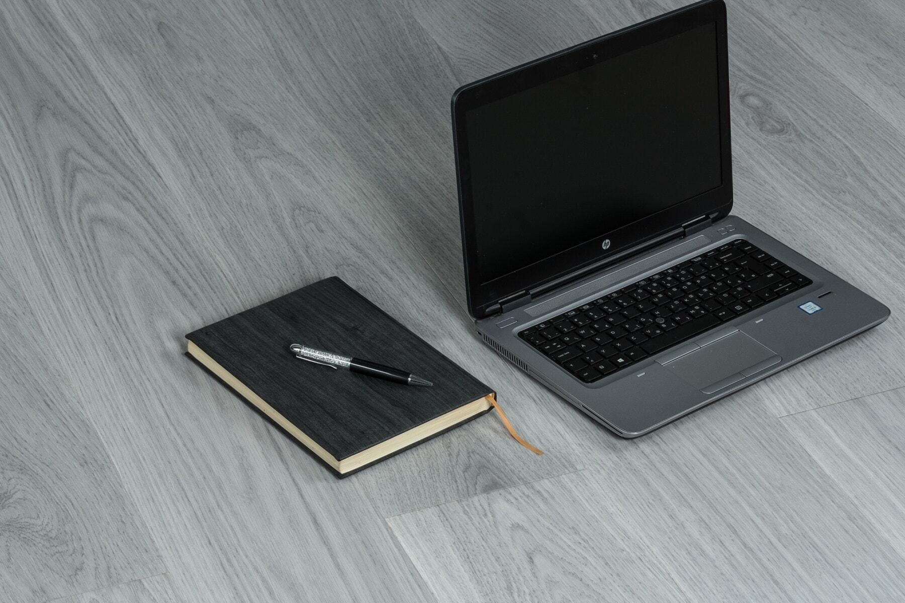 преносим компютър, черно, алуминий, сив, молив, Черно и бяло, бюро, бележник, интернет, лаптоп