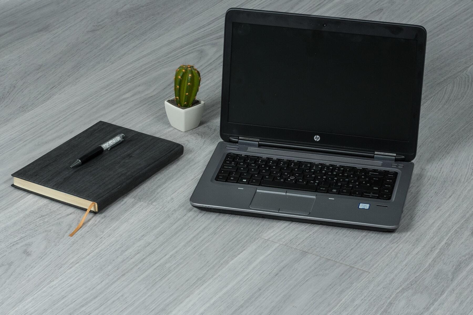 projeto, minimalismo, computador portátil, escritório, vaso de flor, lápis, caderno, cacto, computador, computador portátil