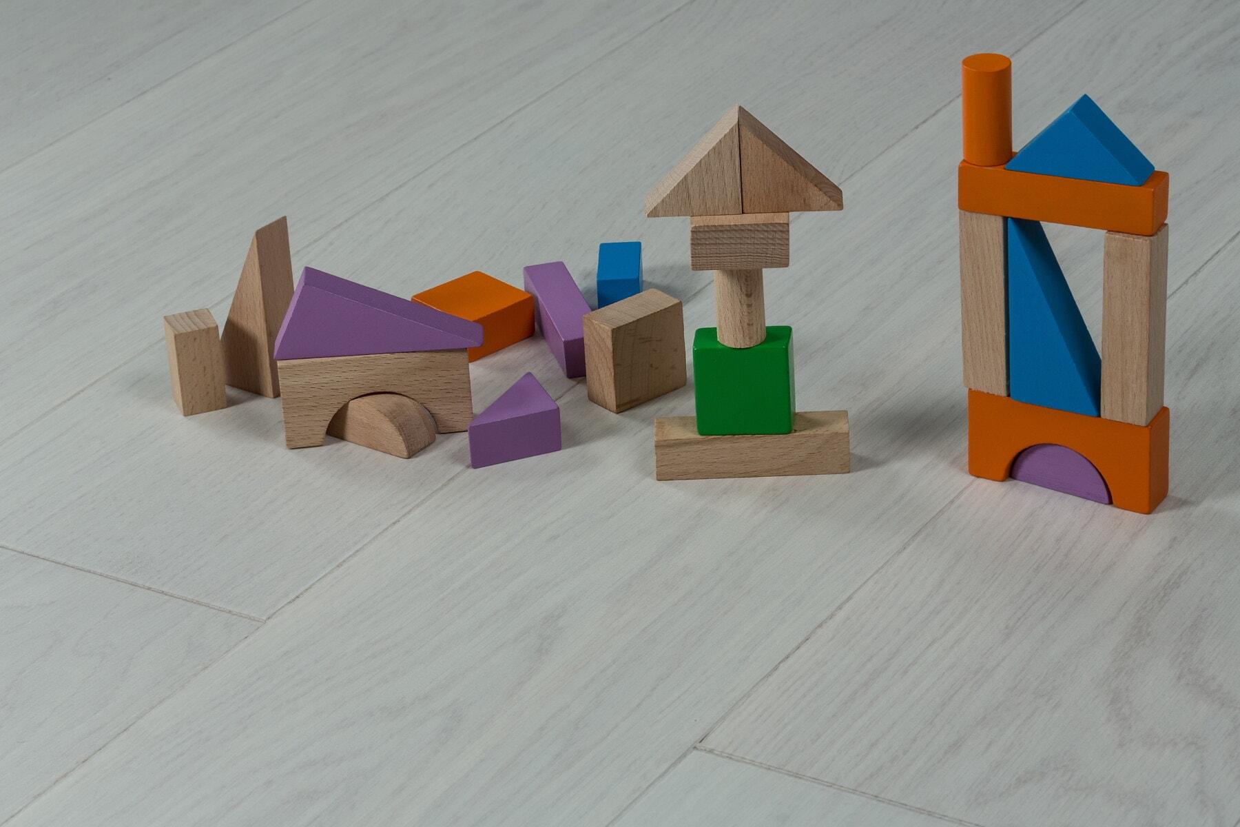 jouets, géométrique, pièces, cube, plancher, jeu, en bois, Triangle, conception, créativité
