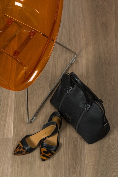 black, leather, handbag, shoes, orange yellow, sandal, comfortable, chair, wood, fashion