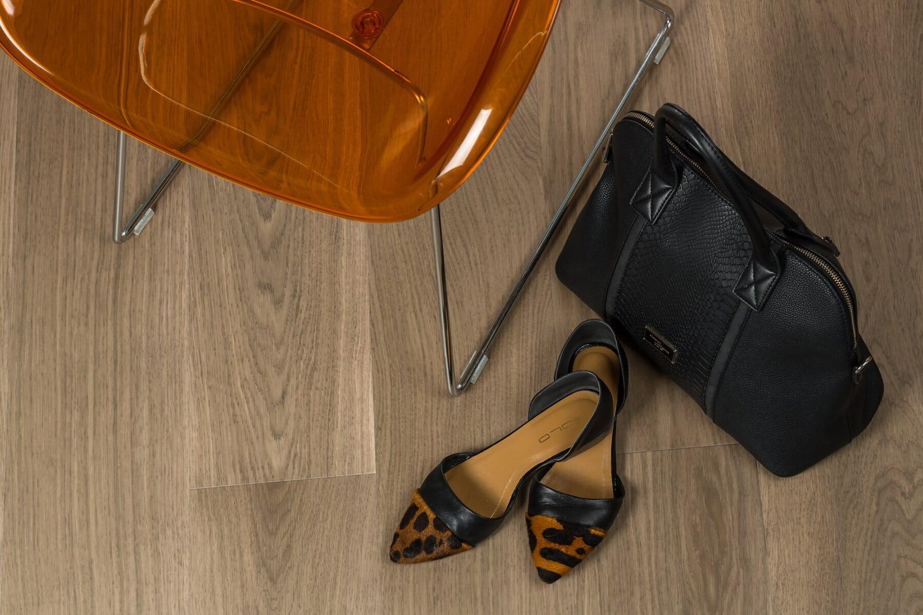 Sandal, orange gul, hæle, håndtaske, sort, læder, fancy, klassikko, styling, fodtøj