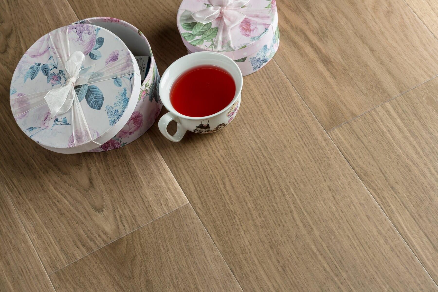 boxes, gifts, tea, mug, porcelain, floor, hardwood, parquet, cup, beverage