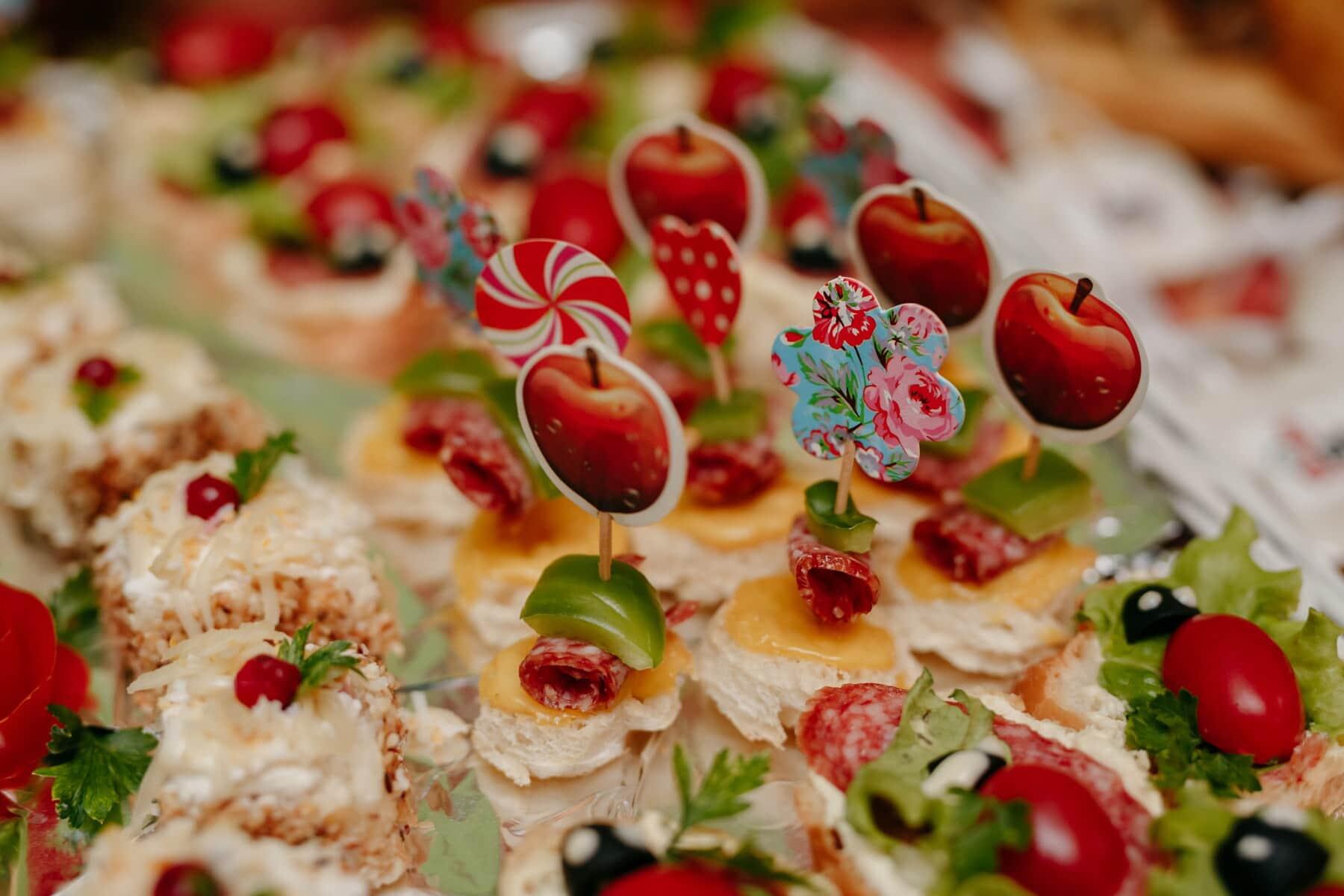 snack, fast food, decoratie, miniatuur, maaltijd, voedsel, lunch, salade, diner, voorgerecht