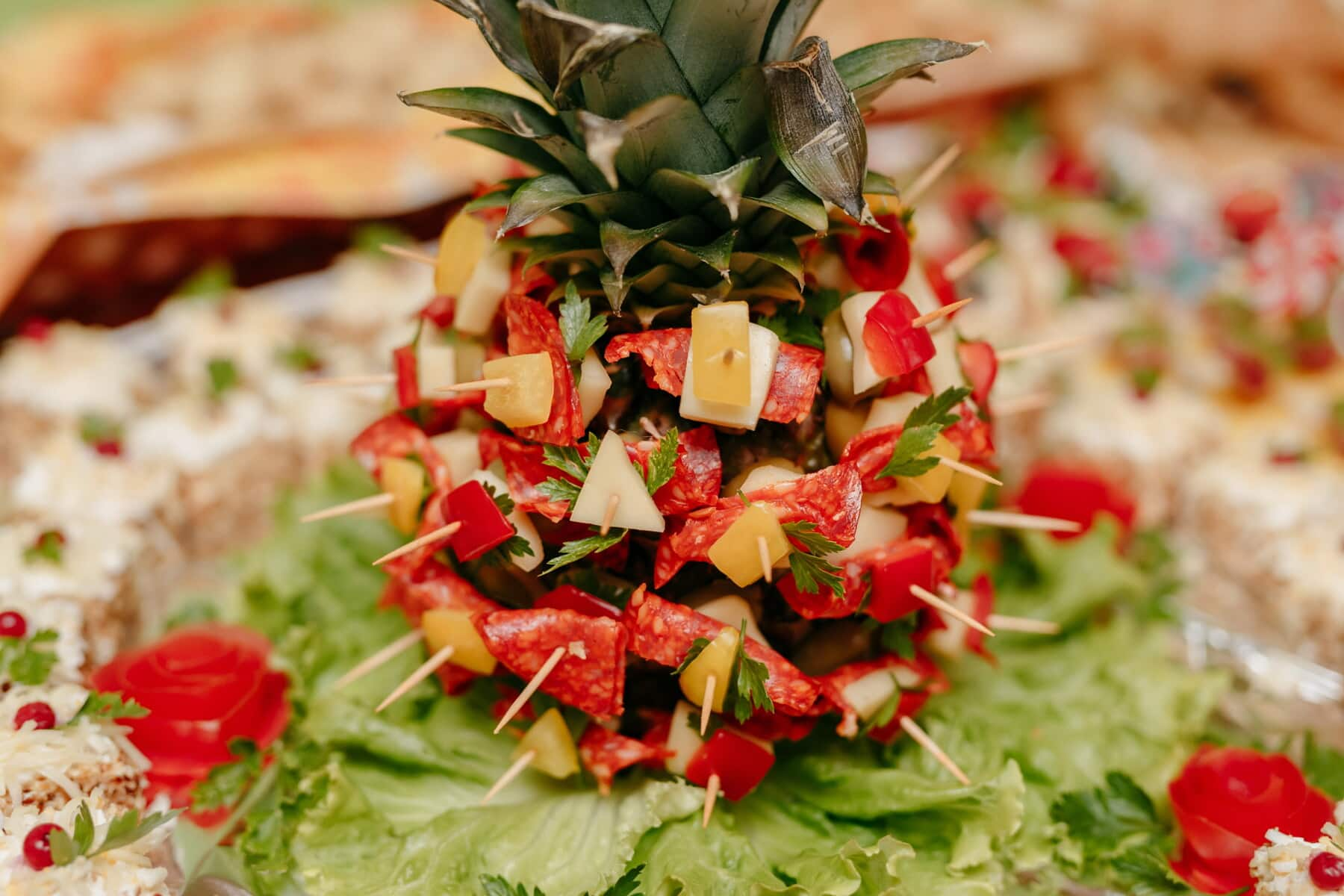 pineapple, fruit, sausage, buffet, salad bar, cheese, decoration, produce, food, delicious