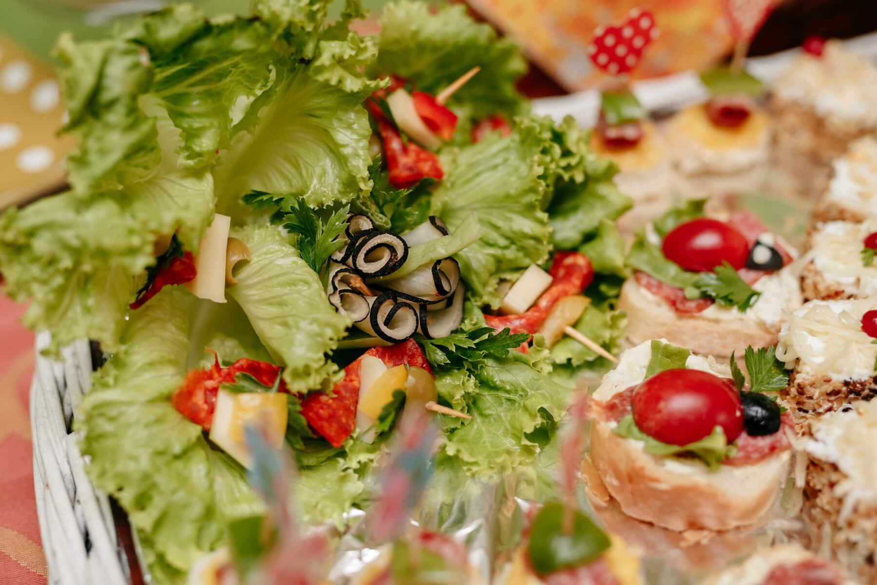 salade bar, snack, smakelijke, voorgerecht, brood, Worst, mozzarella, fast food, tomaat, schotel
