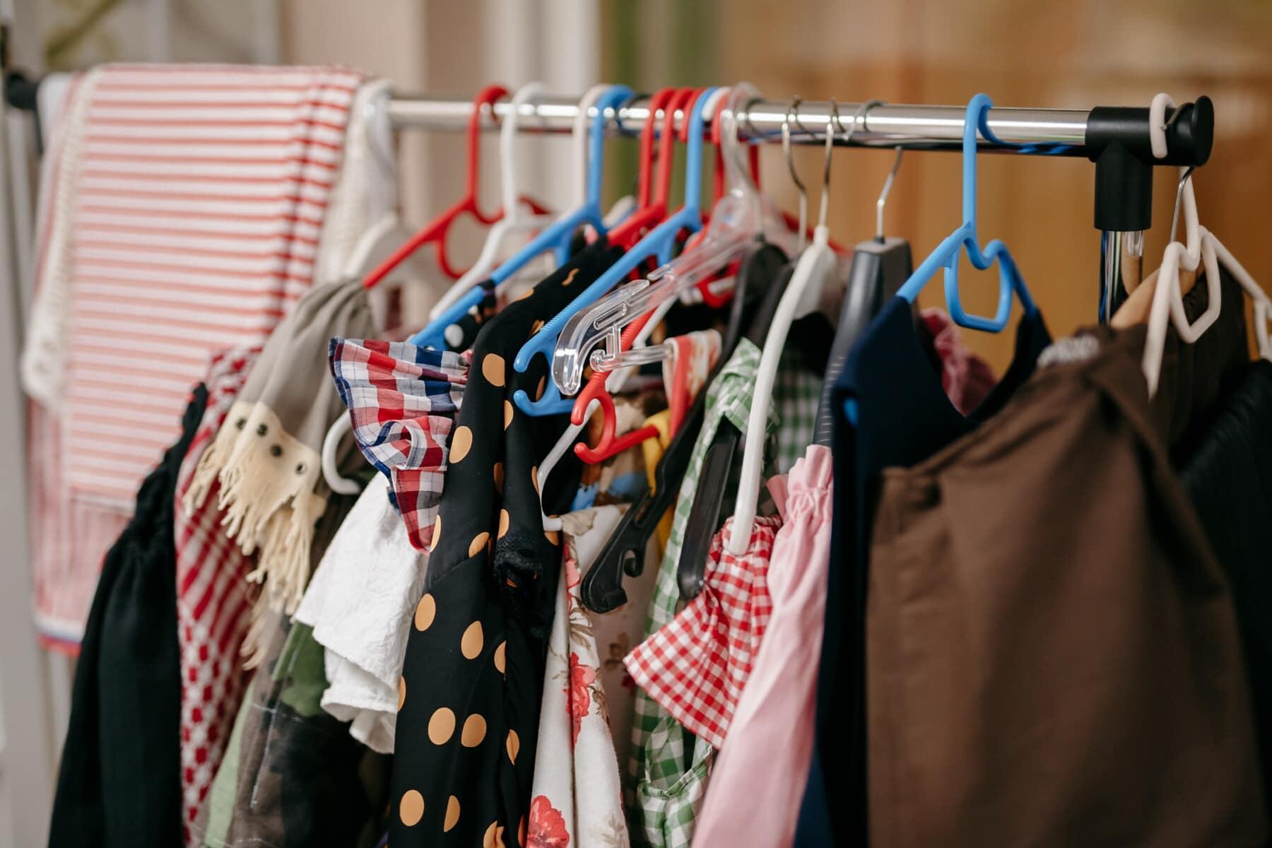 Boutique, shopping, varer, mote, hengende, butikk, hengeren, lager, garderobe, rack