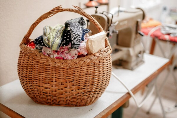 cotton, wicker basket, clothes, textil, workshop, design, studio, basket, wicker, handmade
