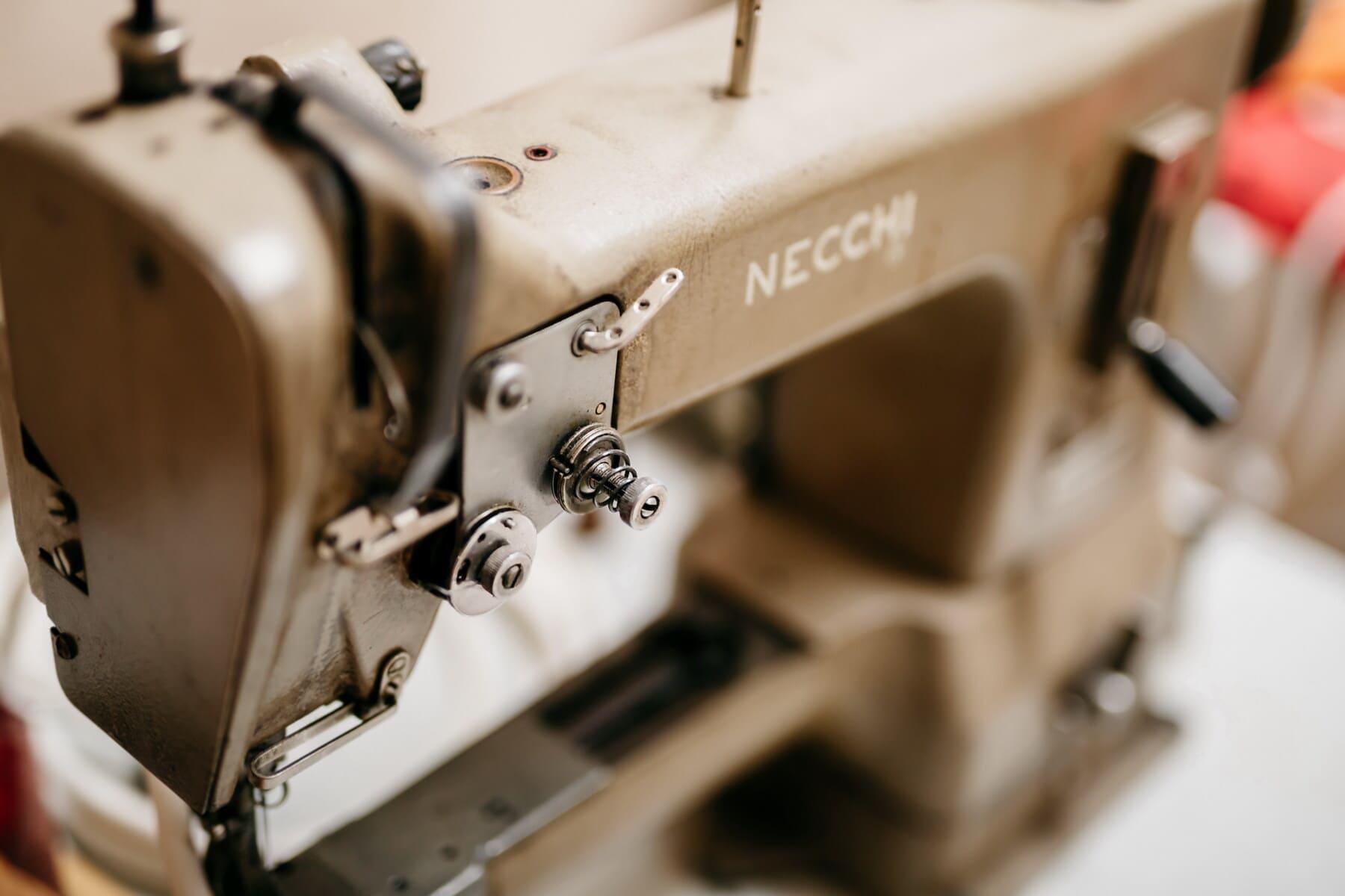 professional, workshop, vintage, sewing machine, light brown, metal, studio, machinery, retro, device