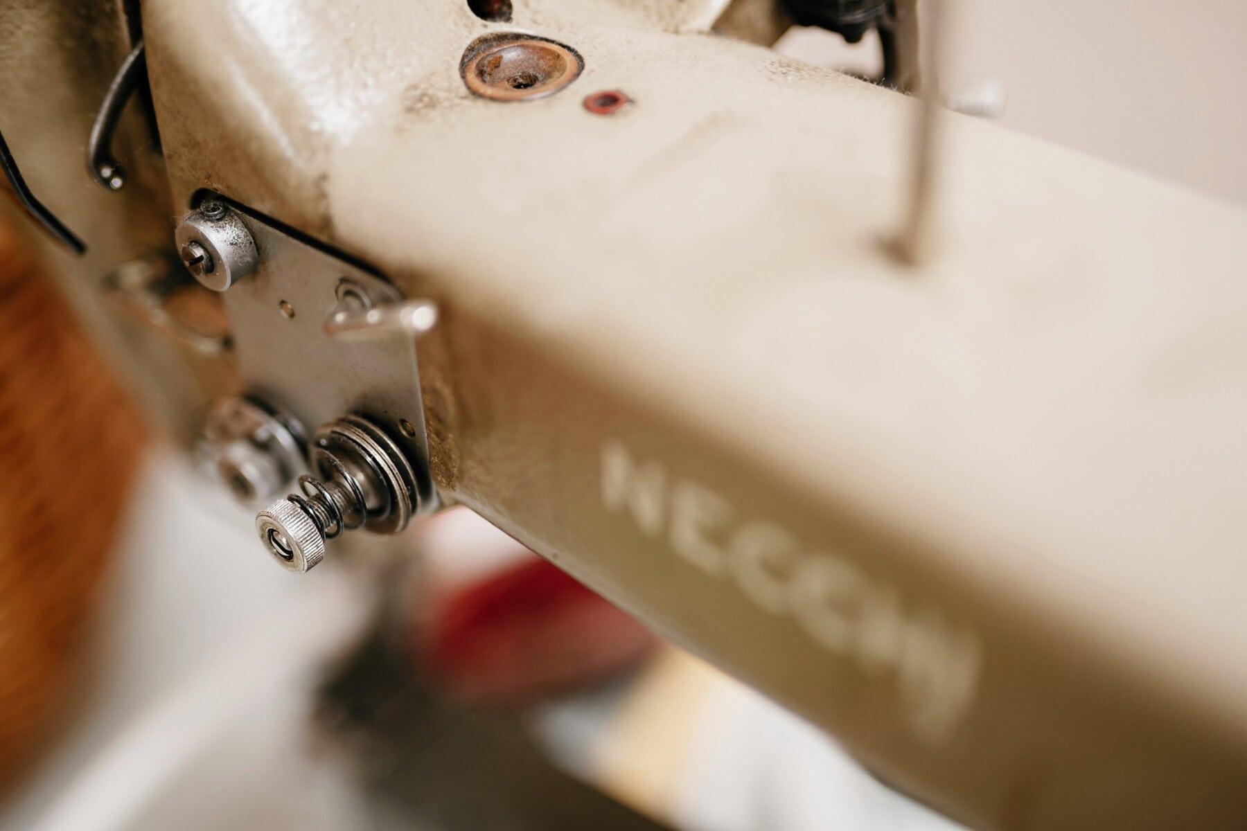 детайли, шевна машина, едър план, неръждаема стомана, закрито, устройство, мъгла, промишленост, Оборудване, едър план