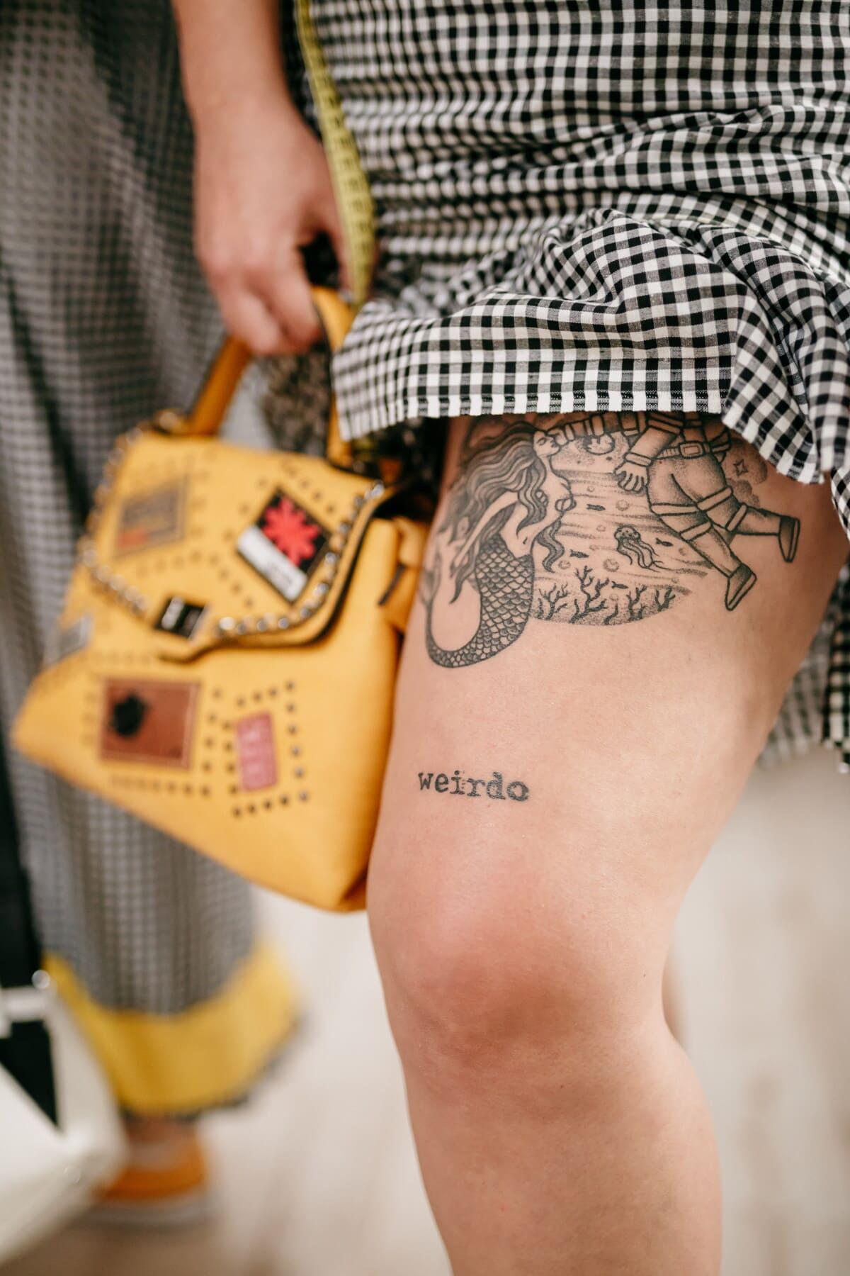 коляно, краката, татуировка, реколта, млада жена, модерен, кожата, изкуство, дизайн, жена