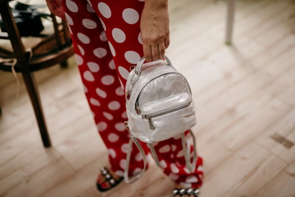 white, handbag, red, woman, pants, fashion, style, girl, indoors, retro