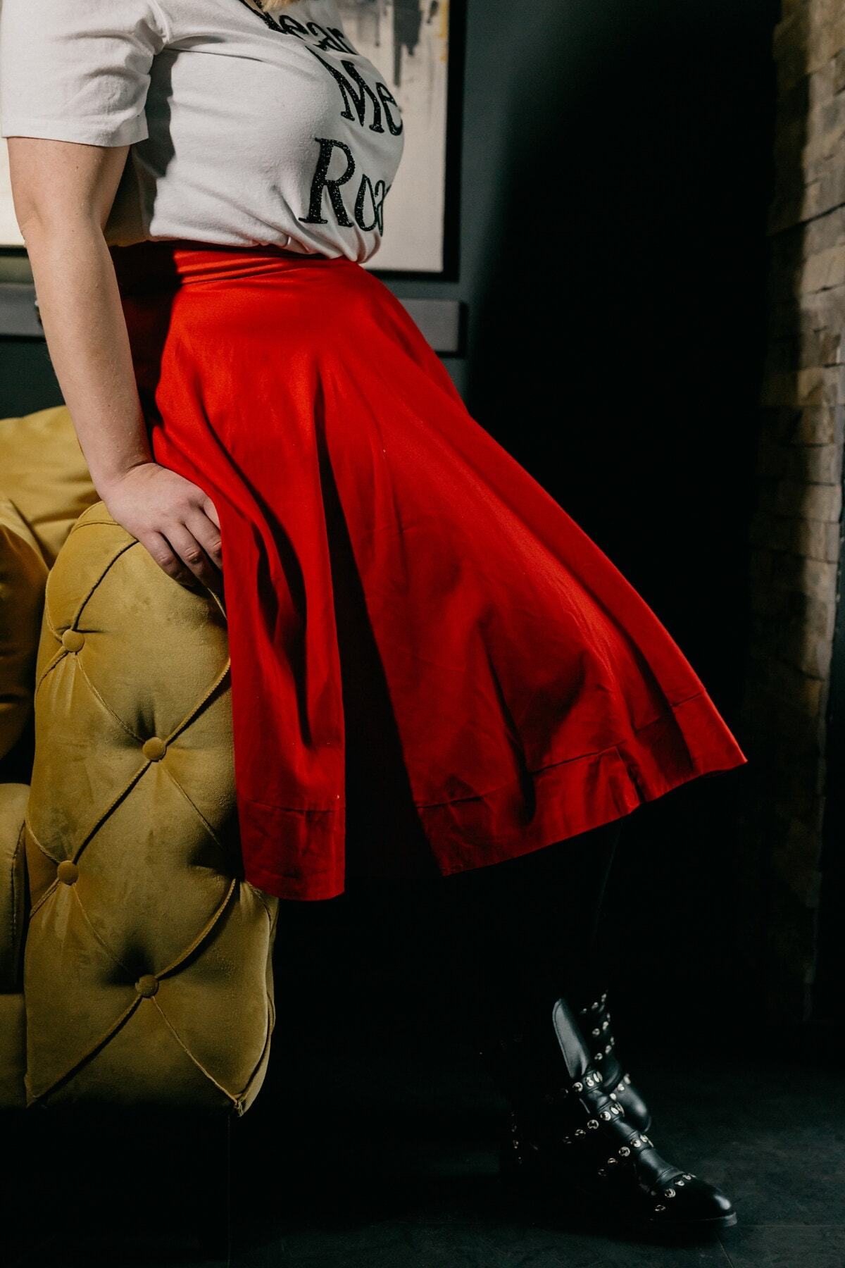 skirt, red, body, slim, posing, young woman, trendy, outfit, black, shirt